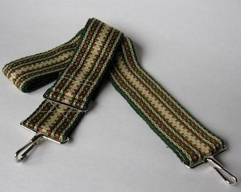 "Handbag strap handwoven - 2"", adjustable, metal clips, green and copper, Purse, Bag, Laptop, Camera Strap"