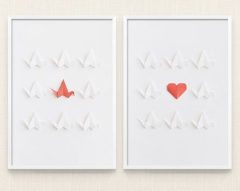 Wall decor Origami art | Bird art, Japan wall art, Craft art, Office decor, White wall art, Minimalist art, Home decoration, Bedroom Art, A4