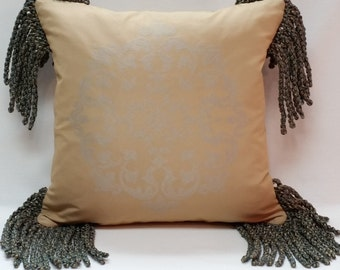 "Decorative Gold and Blue Pillow, size 14"" x 14"""