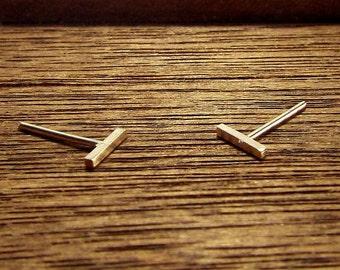 Gold BAR STUD EARRINGS, Minimalist, Modern, Contemporary, Post Earrings, Simple, 14k Gold Filled Square Bars, Copper Woods Jewelry, Gift