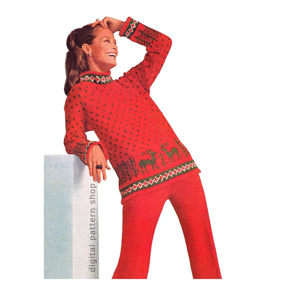 Knitting Pattern Nordic Sweater & Pants Pattern Womens Warm