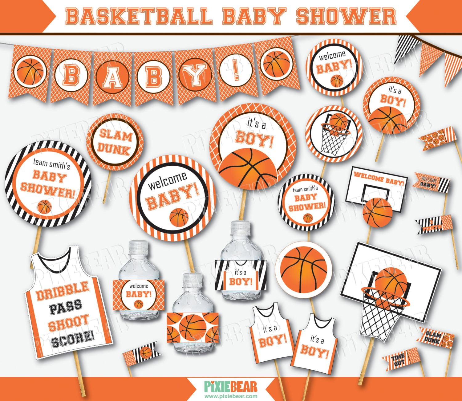 basketball baby shower baby shower decorations by pixiebearparty