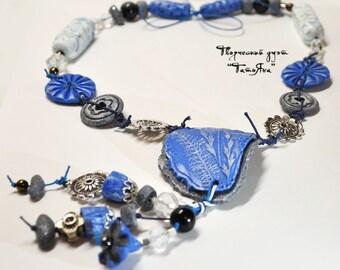 Neckless - Beads-frosty-blue-vegetable-boho-style