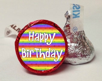 Happy Birthday Blue Plaid Or Rainbow Striped Candy Labels ~ 108 Hershey Kiss Candy Label Stickers, Hershey Kiss Stickers