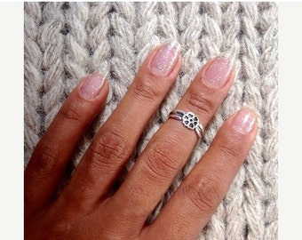 ON SALE 15% OFF Silver Knuckle Ring - Sterling Knuckle Ring - Adjustable Knuckle Ring - Top Of Finger Ring - Adjustable Finger Ring - Mid Kn