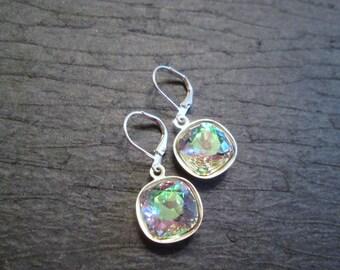 Vitrail Light Swarovski Earrings/Bridesmaid Earrings/Rainbow Crystal Earrings/Crystal Earrings/ Wedding Jewelry/Purple Pink Crystal Earrings