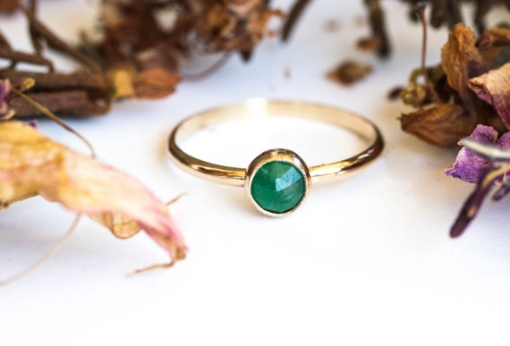 14k yellow gold rose cut emerald engagement ring, emerald engagement ring, birthstone gold ring