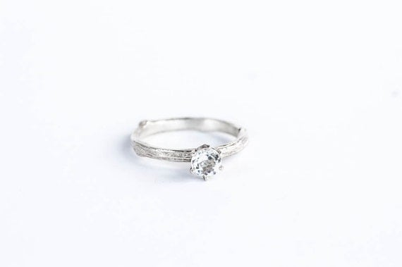 White topaz sterling silver twig engagement ring, twig ring, nature ring