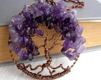 Tree of life pendant Amethyst pendant Copper necklace Amethyst tree of life necklace Amethyst necklace Purple stone pendant Copper pendant