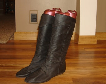Vintage Tall Black LEATHER Pull On Flat SLOUCH Riding Boots~7~