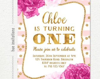ONE 1st birthday invitation for baby girl, blush pink stripes gold glitter confetti and pink flowers, customized printable digital invite