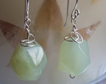 Sterling Silver Green Jade Nugget Wire Wrapped Drop Dangle Earrings