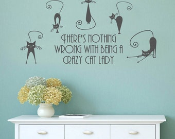 Wall Decal, Crazy Cat Lady, Funny Feline Art, Cat Lover, Bedroom Wall Decal, Animal Lover Decal, Wall Sticker