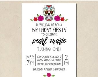 sugar skull invitation - papel picado invitation - shower invitation - fiesta birthday - baby shower - DIY - custom - digital printable