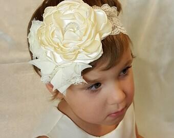 Ivory headband. Ivory headband baby. Ivory headpiece. Lace headband. Lace headband adult. Lace headpiece. Cream headband. Lace headband baby
