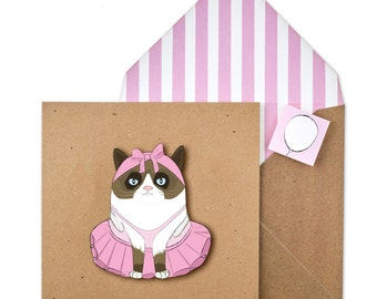 Handmade Ballerina Cat Card - Illustrated Funny Cat in Tutu on Recycled Card - Unique Printed Envelope with Seal- Grumpy Girl Cat!