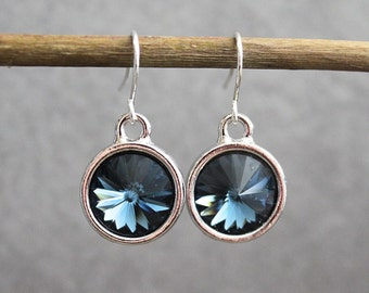 Dark Blue Crystal Earrings, Dark Blue Earrings, Blue Drop Earrings, Blue Dangle Earring, Blue Chandelier Earrings, Blue Bridesmaid Earrings