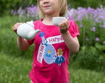 Alice Birthday Shirt with Potion Bottle and Embroidered Name