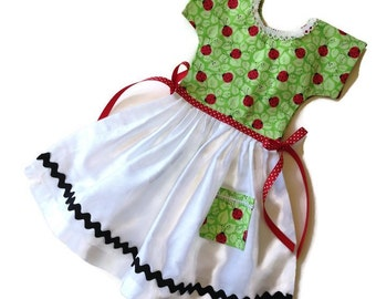 Lady Bugs Kitchen Towel / Oven Door Dress /Double-Sided Tea Towel Dress / Hanging Towel/ One-of-a-Kind / Gift for Her