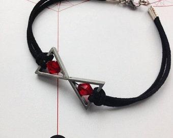 Black Widow Bracelet Marvel Comic Inspired Jewelry Natasha Romanoff Avengers Comic Book Hero Black Faux Suede Red Bead Nerd Geek Girl Gift