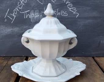 Antique Ironstone Gravy Tureen With Under Plate, Thomas Hughes Desoto Shape
