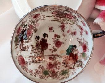 Japanese satsuma teacup matching saucer eggshell bowl satsuma fine china