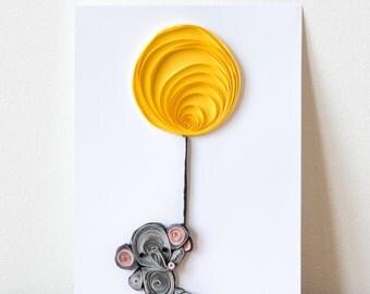 elephant nursery art -woodland nursery - kids room decor -nursery decor - elephant and balloon nursery paper wall art - baby shower gift