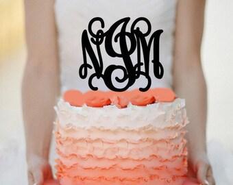 "6"" Personalized Custom Wedding Monogram Cake Topper Monogram cake topper Personalized Cake topper Acrylic Cake Topper"