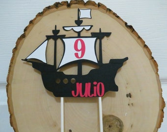 Personalized Pirate Ship Cake Topper - Black, Red, and White