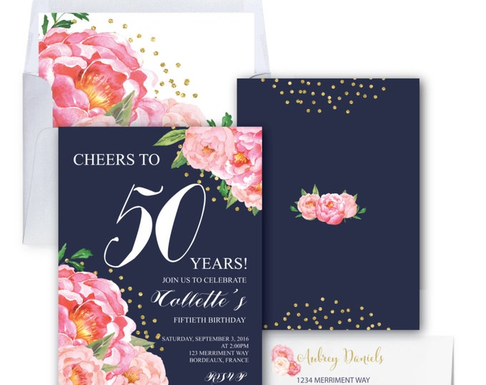 50th Birthday Invitation // Fiftieth Birthday Invitation // Pink // Navy // Flowers // Peony // Pink // Gold Glitter // BORDEAUX COLLECTION
