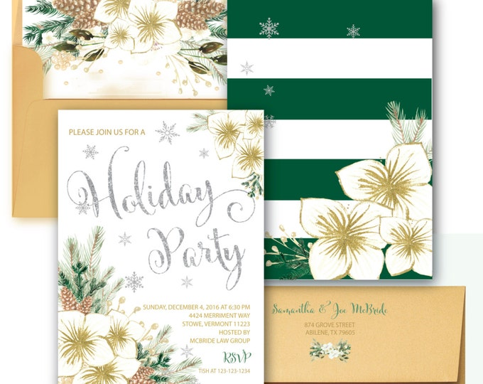 Holiday Party Invitation // Eat Drink and be Merry // Christmas Party Invitation // Snowflakes // Silver Glitter// Gold// VERMONT COLLECTION