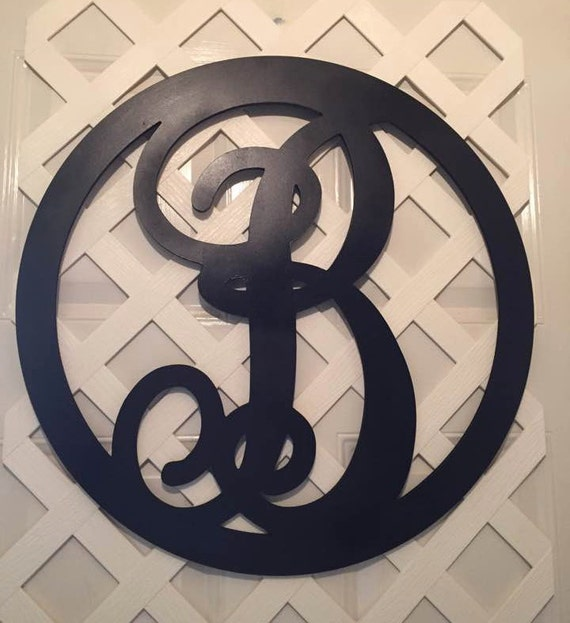Monogram Door Wreath Black Monogram Letter Monogram