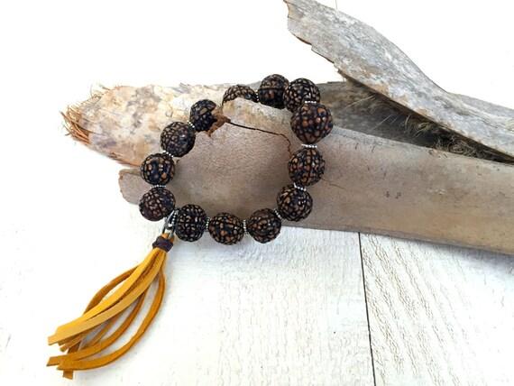 Boho Style Bracelet, Tassel Bracelet, Bohemian Jewelry, Wood Beaded Bracelet, Stretch Bracelet, Hippie Jewelry, Gypsy Jewelry
