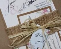 Rustic wedding invitation, wedding invitation, flower wedding invitation, vintage invitation, Baby Shower, Baptism, Christening