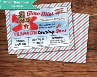 Airplane first birthday invitation. Vintage African American plane aviator pilot baby boy birthday digital invite. Red teal blue retro B233