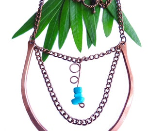 Brilliant Copper Horseshoe U-Shaped Pendant with Copper Chain Accent and Turquoise Stone Beads on a Copper Wire (N23)