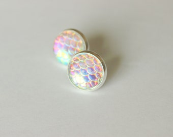 Mermaid Scale Earring Posts, Opal Mermaid Earring Studs, Opal Stud Earrings, Mermaid Scale Earrings, Mermaid Opal Stud, Opal Mermaid Scale