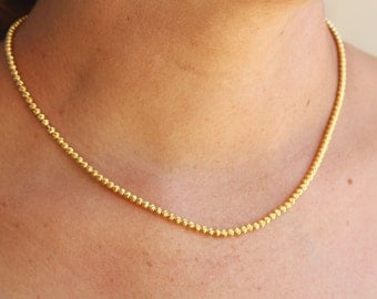 14K Gold Necklace / Tiny Bead Gold Necklace / Gold Choker Necklace / Yellow Gold Necklace / Gold Plated Seed Bead / Valentines Day Jewelry