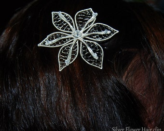 Flower Hair clip, Wedding jewelry, Bridal hair clip, Alligator hair clip, elven flower, wire hair clip, elvish jewelry, nature lover gift