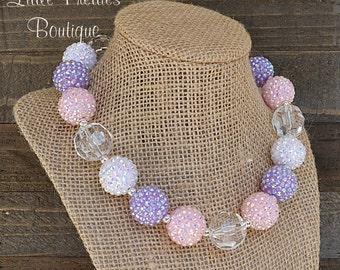 Pink and Purple Bubblegum Necklace, Statement Necklace, Chunky Bead Necklace, Children's Necklace, Girl's Necklace, BN71