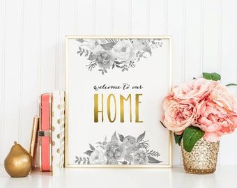 WELCOME to our HOME, Instant Download, 8x10, 11x14, Printable art, Guestroom, Welcome to our home print, Watercolor Roses, Welcome Art