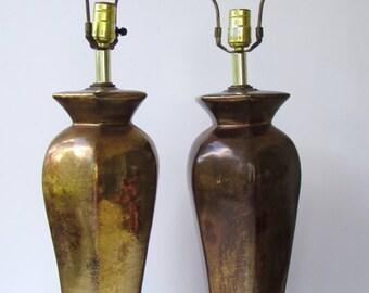 Vintage Tablelamps - Pair Vintage Mid Century Modern Bronze Brown Ceramic Lamps - Tall Ginger Jar Shaped  - Black Wood Base - Golden Bronze