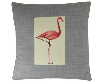 Flamingo cushion covers (pair), Grey cushions, Pink flamingo pillow covers, Tropical pillows, 16x16 inches