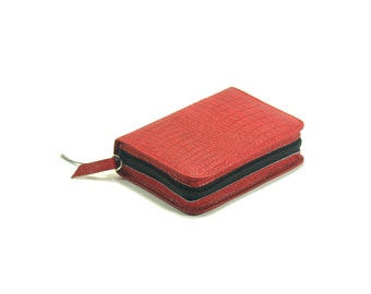 Small Pocket Size Bible Cover- New World Translation  Jehovah's Witness - Red Crocodile Leather