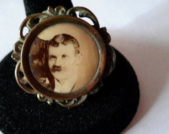 Antique ~ Vintage ~ VICTORIAN EDWARDIAN Photo Brooch Pin ~  Gold Filled ~ Mourning Photo Brooch ~ Vintage Brooch Pin ~ Picture Brooch