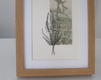 EMBROIDERY, TEXTILE ART - Free machine landscape, embroidery and print, framed embroidery, embroidered art, print and stitch.