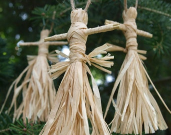 x3 Corn Dolly (Traditional Victorian Style) - Christmas Decorations / Harvest / Lammas (witch, wicca, pagan)