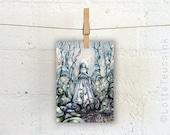 Fairytale art postcard, surreal painting, bride artwork, pop surrealism, lowbrow painting, surreal forest fantasy artwork, gothic art card