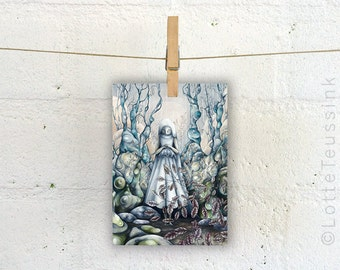 Fairytale art postcard, surreal painting, bride artwork, pop surrealism, lowbrow painting, surreal forest fantasy artwork, gothic art card