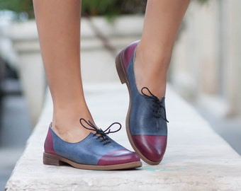 Women Leather Shoes, Leather Oxfords, Oxford Shoes, Painted Leather Shoes, Closed Shoes, Blue Shoes, Free Shipping